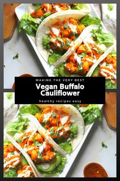 These Vegan Buffalo Cauliflower Tacos are pressed brimming with fiery wild ox sauce, rich farm, crunchy romaine and healthy avocados. Vegan Buffalo Cauliflower, Cauliflower Tacos, Recipes Dinner, Drink Recipes, Snack Recipes, Easy Healthy Recipes, Vegan Recipes, Easy Meals, Winter Recipes