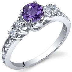 .5 Carat Amethyst in Sterling Silver, Rhodium Finish