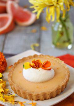 Grapefruit Tarts - grapefruit curd with fresh mint whipped cream. From SugarHero.com