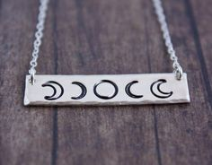 Moon phase necklace, bar necklace, phases of the moon necklace, sterling silver…