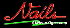 """Nails Neon Sign-10265  13"""" Wide x 32"""" Tall x 3"""" Deep  110 volt U.L. 2161 transformers  Cool, Quiet, Energy Efficient  Hardware & chain are included  6' Power cord  For indoor use only  1 Year Warranty/electrical components  1 Year Warranty/standard transformers."""