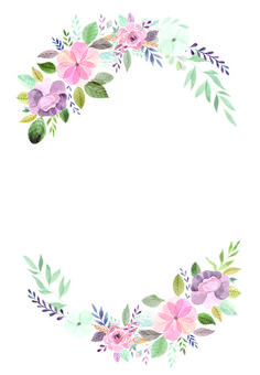Soft floral wedding invitation template free the frame is round