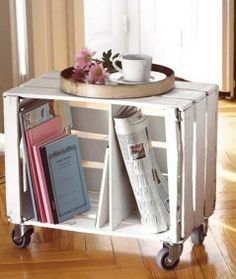 Re-purpose an old crate and turn it into a side table, with plenty of space. #creative #storage