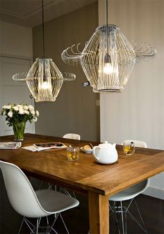 Coathangers upcycled into lamps.