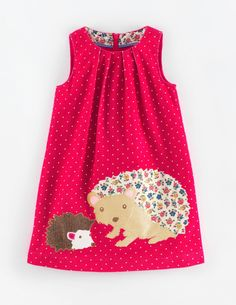 """Our affectionate appliqués made out of two of our favourite prints this season. On pure, soft cotton cord printed with tiny polka dots. A lovely everyday play dress which can also be worn for outings. Brilliantly Boden."" #MiniBoden #BacktoSchool"