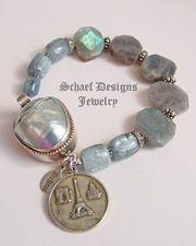 Kyanite, Labradorite, & Sterling Silver Gemstone Bracelet | Artisan handcrafted gemstone jewelry | Schaef Designs Jewelry online gallery boutique |New Mexico
