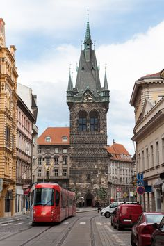 Jindřišská street and tower, Prague, Czechia #prague #czechia #city