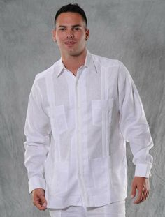 Traditional Cuban Guayabera. Italian Linen. Pure White. French Cuff. Additional tucks on the button placket. - Premiun Italian Linen. FRENCH CUFF , PURE WHITE Guayabera. A classic an sublimely soft Linen 100 %. Traditional collar.Pleats  and 4 pocktes. Traditional Cuban Style.These shirts are designed to wear with your favorite cuff links . Made by GuayaberasCubanas.Availability is subject to changeDry Clean for best result.4 X available.