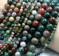 "8mm Round Indian Agate Stone Beads 15"" Inch Strand (1) - B023"