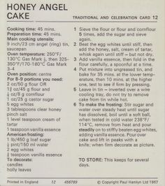 Recipe Vintage: Honey Angel Cake (Christmas, Festive, Traditional) - 1960's (Marguerite Patten Recipe Card)