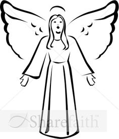 Black Angels Art | Black and White Singing Angel Clipart | Angel Clipart