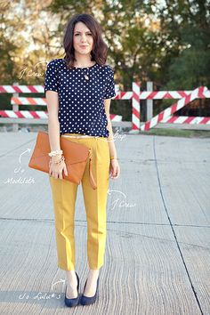 I love the idea of pairing a flowy printed blouse with some nicely tailored slacks. I need to find pants that look this slimming on my short body.