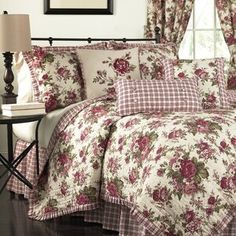 Refresh your bedroom with the Waverly Norfolk Reversible Quilt Collection. This traditional ensemble features large-scale crimson cabbage roses on a cream ground. Queen Bedding Sets, Comforter Sets, King Comforter, Country Bedding Sets, Red Bedding Sets, Bedding Master Bedroom, Bedroom Decor, Ikea Bedroom, Bedroom Black