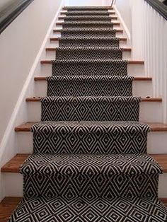 Black and white patterned stair runner - a possible if walls are coloured? Or something similar to this in lighter colours???