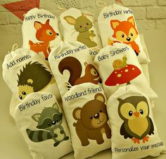 """Muslin Favor Bags Woodland Forest Friends Birthday or Baby shower Personalized Treat or Gift Bags 5"""" X 7"""" Qty 9"""