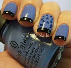 """Secret Periwinkle gets tattooed!  (China Glaze """"Secret Periwinkle"""" with nail tattoos and Wet n' Wild Black for the tips)"""
