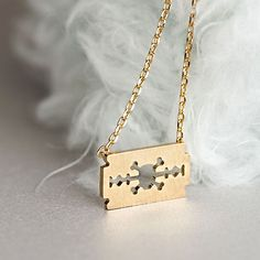 Gold Razor Blade Necklace, Skull Skeleton Cross Bones Cutout Charm