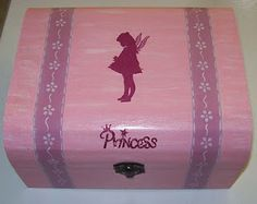 wood box for a girl, handpainted, stencil & decoupage