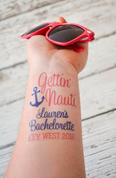 Bachelorette Temporary Tattoo Get Nauti by AnchorAvenueDesigns