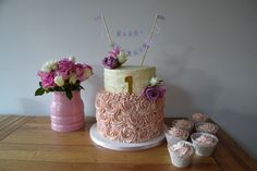 Pretty Chic Swiss Meringue Buttercream Birthday Cake by Caroline's Cake Company, Sale, Cheshire.