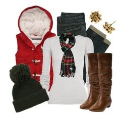 Oh my goodness, close to christmas   outfit!! Those earring are presents, how adorable! That vest is calling my   name!