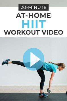 Strength training and HIIT cardio combine in this effective, strength-building and calorie-burning HIIT WORKOUT with weights! Workout at home with this online workout video! 20-Minutes of full body HIIT exercises for women! 20 Min Workout, Full Body Hiit Workout, Hiit Workout At Home, Dumbbell Workout, At Home Workouts, Boxing Workout, Workout Plans, Workout Routines, Workout Gear
