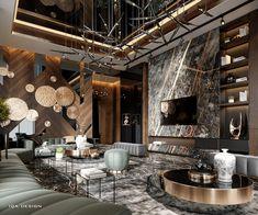 Some spaces of our interior design for villa in Dubai on Behance Luxury Home Decor, Luxury Interior Design, Home Room Design, Living Room Designs, Living Rooms, Design Homes, Design Bathroom, Small Bathroom, Design Design