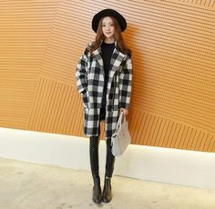 Korean style - plaid long-sleeved woolen coat