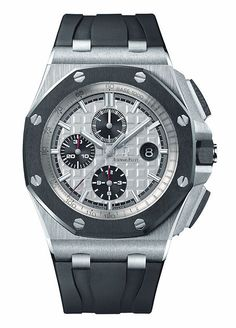 The @audemarspiguet Royal Oak Offshore Chronograph 44 mm is shown in steel and ceramic on a rubber strap.  Behind the dial of this watch lies the caliber 3126 automatic winding chronograph movement with 365 components; the movement runs at 21,600 vph in 59 jewels.  More @ http://www.watchtime.com/blog/5-accessible-audemars-piguet-watches-for-new-collectors/ #audemarspiguet #watchtime #chronograph