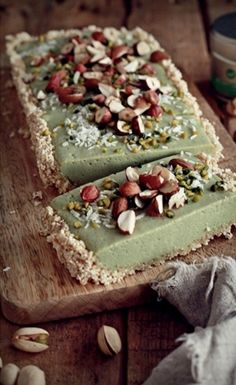 This vegan matcha tea cake is light but packed with satisfying flavor. Top with nuts for a seasonal touch.