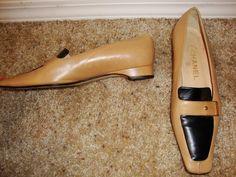 CHANEL Beige & Black Leather Gold Buckle Logo Heel Loafer Flat Size 36 #Chanel #LoafersMoccasins #chanel #chaneladdict #chanelheel #designershoe #consignkansas