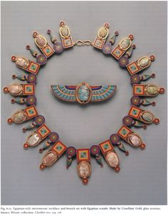 "The Italian archaeological jewelry, specifically ""Etruscan Style granulation"" by the Giuliano and Castellani Familiy in the 19th Century was inspired by the precious Etruscan, Roman, Greek, Egyptian and Byzantine antiquities being excavated at the time."