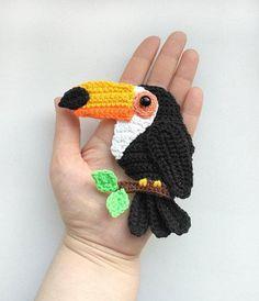 PATTERN Toucan Applique Crochet Pattern PDF Tropical Bird Crochet Applique Pattern Baby Shower Gift Motif Ornament Baby Blanket ENG