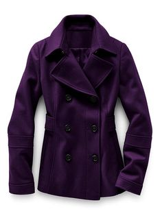 Purple Double Breasted Peacoat