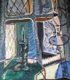 Crambe Vicarage : Night : 1949 by Patrick Heron Date painted: 1949 Oil on canvas, 75 x 62 cm Painting Collage, Love Painting, Peter Wood, Patrick Heron, Art Through The Ages, Still Life Flowers, Paint Photography, Georges Braque, Art Uk