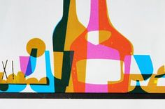 Detail of a vintage menu showing bottles and drinking glasses