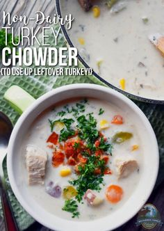 Non-Dairy Turkey Chowder {to use up leftover turkey!} | During the holiday season, turkey, unlike clams, is quite readily available; and turkey chowder is a practical and wonderful use of your leftover turkey. Plus, it's just great twist on an old classic.
