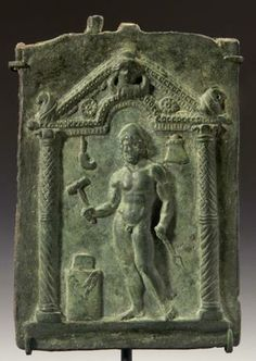 Relif of Hephaistos - Vulcan, Roman Bronze marble, 14 cm, 2nd-3rd Century AD, In his right hand he holds a hammer about to strike and anvil atop an altar; in his left a pair of tongs. P.P. Collection, California