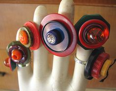 bakelite button rings