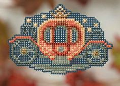 """MH184202 -  Princess Carriage - Seasonal Ornament  Autumn Harvest Series - Kit Includes: Beads, treasures, 14ct perforated paper, floss, specialty threads, needles, chart, magnet and instructions.  1 of 6 designs. Size: 2.75"""" x 2"""""""