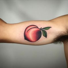 Like how this looks soft but do not like how dark it is. At all Georgia Peach by Dan Pemble. Sun Tattoos, Love Tattoos, Tattoo You, Body Art Tattoos, Tattoos For Women, Pretty Tattoos, Beautiful Tattoos, Georgia Tattoo, Michigan Tattoos