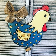 Floral Chicken Wood Cut Out Door Hanger Wooden Doors, Wooden Signs, Door Hanger Template, Burlap Door Hangers, Wooden Hangers, Classic Doors, Wood Cutouts, Paint Party, Summer Crafts
