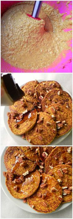 These Flourless Pumpkin Oat Blender Pancakes are made in five mins in the blender - a breakfast fave around here! They are #oilfree, #glutenfree, refined sugar free and #vegan!