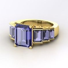 Evelyn Ring, Emerald-Cut Tanzanite Yellow Gold Ring with Iolite from Gemvara