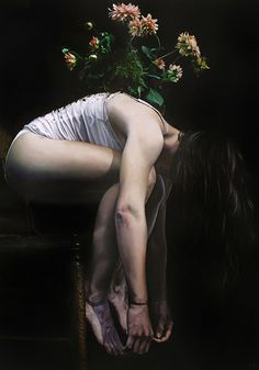"""The Feeling of Falling"" - Amanda Greive, oil on wood panel, 2016 {figurative realism art female profile bending over flowers seated woman painting #loveart} amandagreive.com"