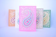 This is a set of five blank greeting cards, each pack comes with assorted cards in a beautiful gold embossed paisleys. The paper is handmade and makes a perfect statement for any occasion. Dimensions: