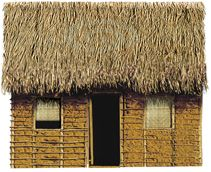 Fachadas | Casa do Rio Choupana - Século XVI ao XVII Feita de sapé ou de palma de pindoba, com paredes de taipa de mão / Pela falta de carpinteiros, os vãos das portas e janelas eram guarnecidos por uma vedação de palha, chamada de urupema