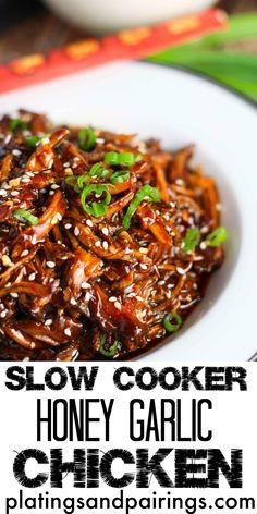Slow Cooker Honey Garlic Chicken platingsandpairings.com