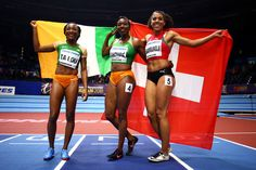 Murielle Ahoure (C) Marie-Josee Ta Lou (L) of Cote D'Ivoire and Mujinga Kambundji of Switzerland celebrates after the 60 Metres Womens Final during the IAAF World Indoor Championships on Day Two at Arena Birmingham on March 2018 in Birmingham, England. American Ninja Warrior, Birmingham England, Track And Field, Athletes, Switzerland, March, Indoor, World, Celebrities