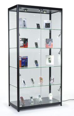 40 Display Case W Halogen Top Side Lights 4 Fixed Shelves Hinged Doors Black